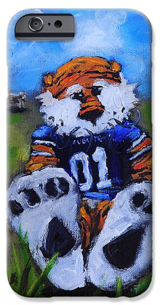 Auburn iPhone Cases - Aubie With the Cows iPhone Case by Carole Foret
