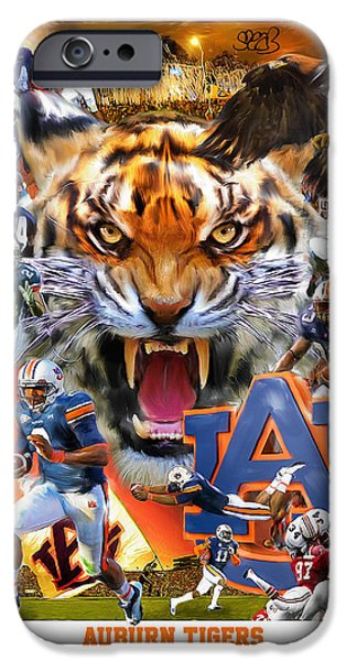 Recently Sold -  - The Tiger iPhone Cases - Auburn Tigers iPhone Case by Mark Spears