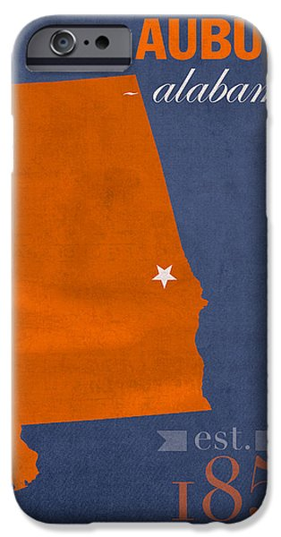 Auburn iPhone Cases - Auburn University Tigers Auburn Alabama College Town State Map Poster Series No 016 iPhone Case by Design Turnpike