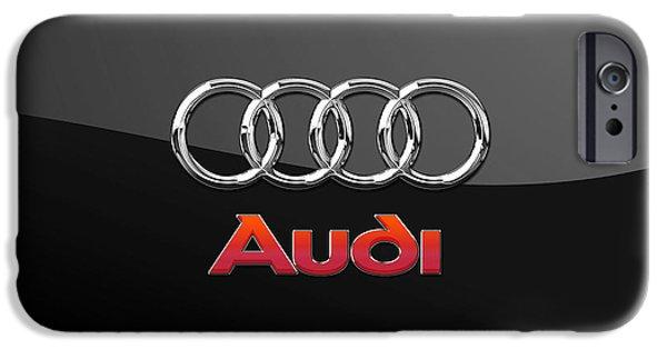 Automotive iPhone Cases - Audi - 3D Badge on Black iPhone Case by Serge Averbukh