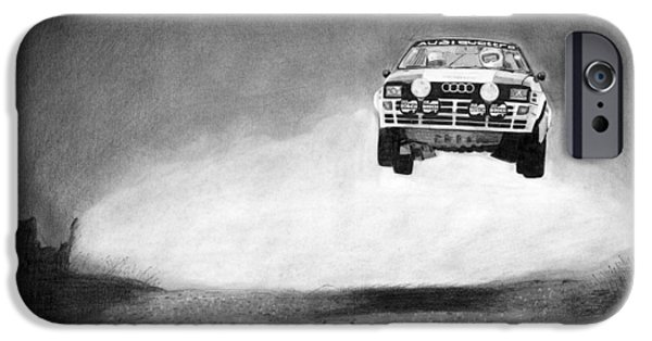 Rally iPhone Cases - Audi Quattro Flying iPhone Case by Gabor Vida