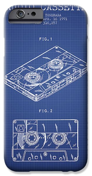 Audio iPhone Cases - Audio Cassette Patent from 1991 - Blueprint iPhone Case by Aged Pixel