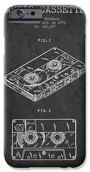 Audio iPhone Cases - Audio Cassette Patent from 1991 - Dark iPhone Case by Aged Pixel