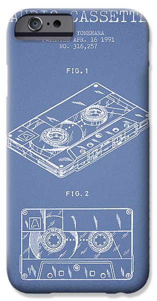 Melody Digital Art iPhone Cases - Audio Cassette Patent from 1991 - Light Blue iPhone Case by Aged Pixel