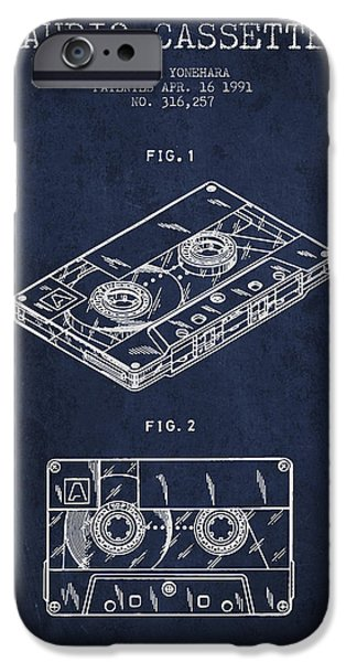 Melody Digital Art iPhone Cases - Audio Cassette Patent from 1991 - Navy Blue iPhone Case by Aged Pixel