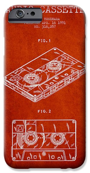Melody Digital Art iPhone Cases - Audio Cassette Patent from 1991 - Red iPhone Case by Aged Pixel