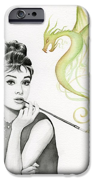 Celebrities Art iPhone Cases - Audrey and Her Magic Dragon iPhone Case by Olga Shvartsur