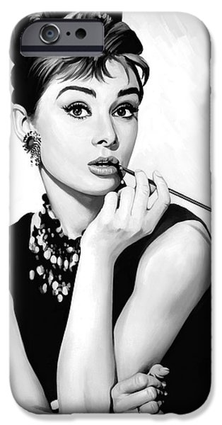 Celebrities Art iPhone Cases - Audrey Hepburn Artwork iPhone Case by Sheraz A