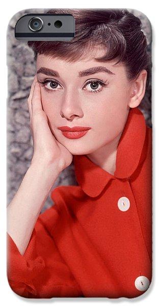 1950s Portraits iPhone Cases - Audrey Hepburn Glamour Portrait iPhone Case by Nomad Art And  Design
