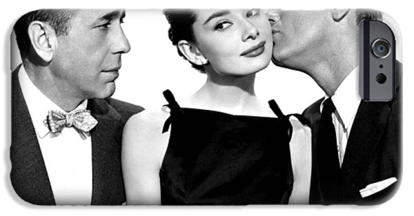 Recently Sold -  - 1950s Movies iPhone Cases - Audrey Hepburn Humphrey Bogart and William Holden iPhone Case by Nomad Art And  Design