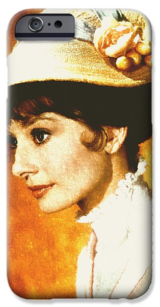 Young Mixed Media iPhone Cases - Audrey Hepburn - Impressionism iPhone Case by Georgiana Romanovna
