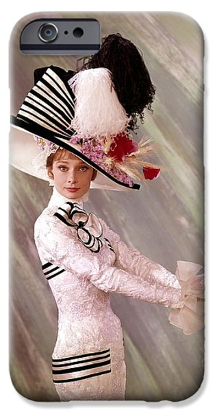 1950s Movies iPhone Cases - Audrey Hepburn in My Fair Lady iPhone Case by Nomad Art And  Design