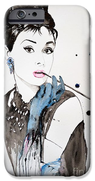 Ismeta iPhone Cases - Audrey Hepburn iPhone Case by Ismeta Gruenwald