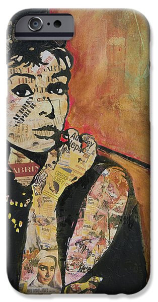 At Poster Mixed Media iPhone Cases - Audrey Hepburn  iPhone Case by Jenny Berry