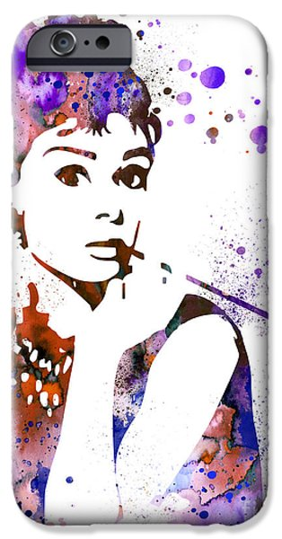 Celebrities Art Paintings iPhone Cases - Audrey Hepburn  iPhone Case by Luke and Slavi