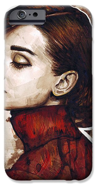 Celebrities Portrait iPhone Cases - Audrey Hepburn iPhone Case by Olga Shvartsur