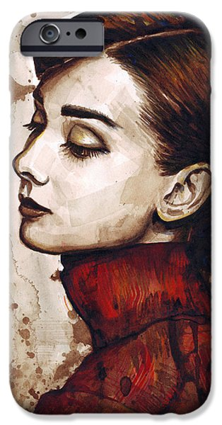 Print iPhone Cases - Audrey Hepburn iPhone Case by Olga Shvartsur