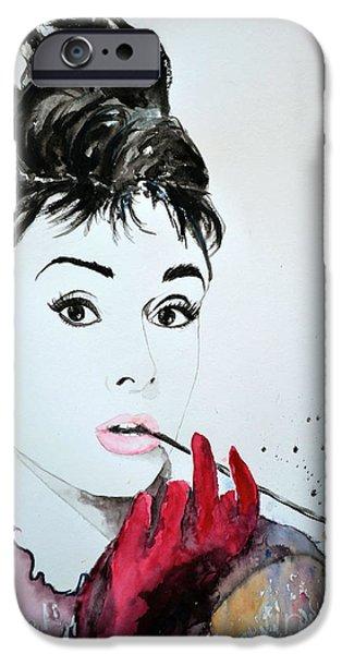 Ismeta iPhone Cases - Audrey Hepburn - Original iPhone Case by Ismeta Gruenwald