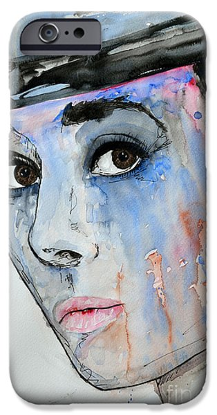 Gruenwald iPhone Cases - Audrey Hepburn - Painting iPhone Case by Ismeta Gruenwald