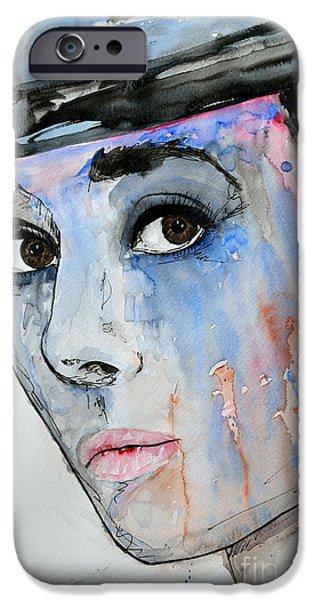 Ismeta iPhone Cases - Audrey Hepburn - Painting iPhone Case by Ismeta Gruenwald