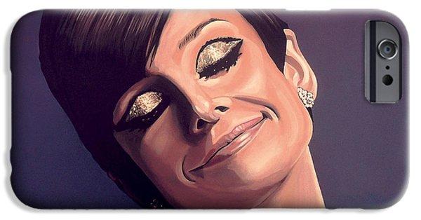 Cinema Paintings iPhone Cases - Audrey Hepburn iPhone Case by Paul  Meijering