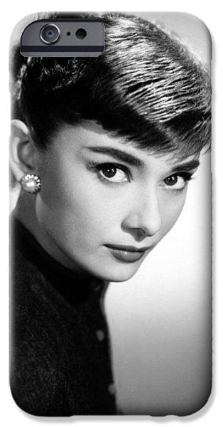 1950s Portraits iPhone Cases - Audrey Hepburn Portrait iPhone Case by Nomad Art And  Design