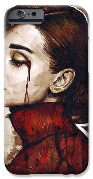 Celebrities Portrait iPhone Cases - Audrey Hepburn Portrait iPhone Case by Olga Shvartsur