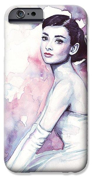 Wedding Paintings iPhone Cases - Audrey Hepburn Purple Watercolor Portrait iPhone Case by Olga Shvartsur