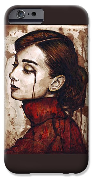 Celebrities Art iPhone Cases - Audrey Hepburn - Quiet Sadness iPhone Case by Olga Shvartsur