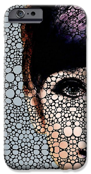 Famous Faces iPhone Cases - Audrey Hepburn - Stone Rockd Art By Sharon Cummings iPhone Case by Sharon Cummings