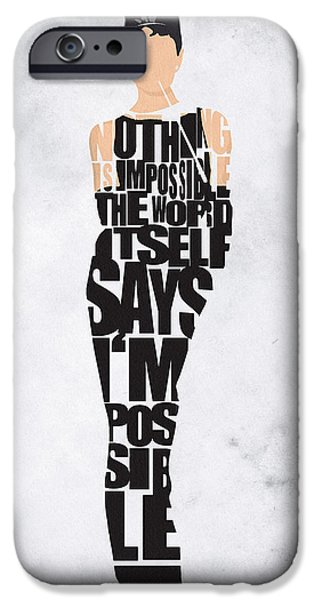 Wall Drawings iPhone Cases - Audrey Hepburn Typography Poster iPhone Case by Ayse Deniz