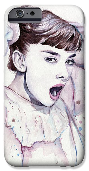 Purple Prints iPhone Cases - Audrey - Purple Scream iPhone Case by Olga Shvartsur
