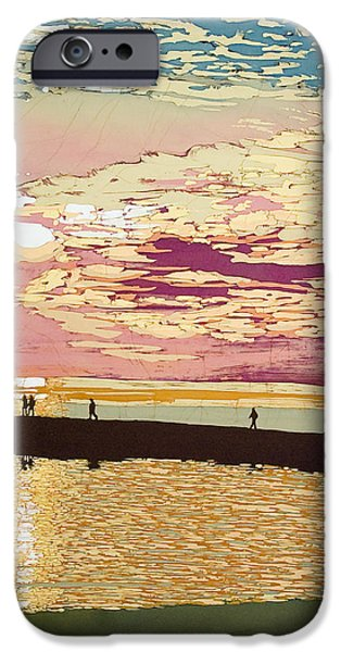 Sunset Tapestries - Textiles iPhone Cases - August Pier Sunset  iPhone Case by Terri Haugen