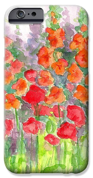 Flora Drawings iPhone Cases - August Poppies iPhone Case by Cathie Richardson
