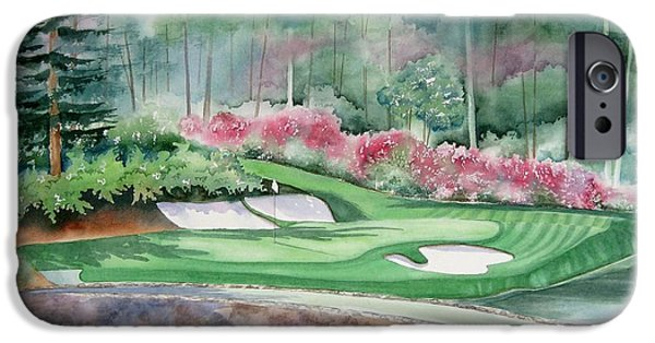 Corner iPhone Cases - Augusta National 12th Hole iPhone Case by Deborah Ronglien