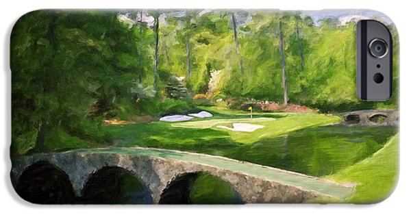 Scott Melby iPhone Cases - Augusta National Hole 12 - Golden Bell 2 iPhone Case by Scott Melby