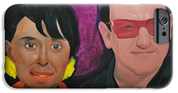 Bono Paintings iPhone Cases - Aung San Suu Kyi and Bono iPhone Case by Norge Reichenbach