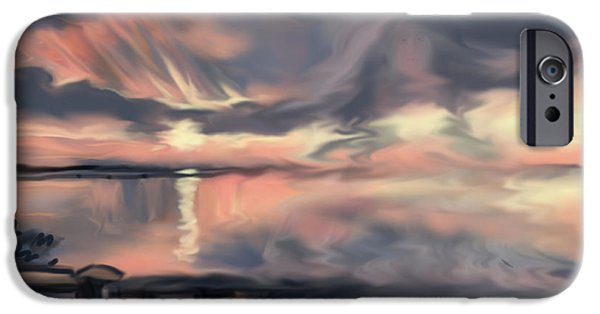 Abstract Seascape Drawings iPhone Cases - Aunt Jo iPhone Case by Jean Pacheco Ravinski