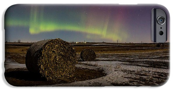 Hay Bales iPhone Cases - Aurora Bales iPhone Case by Aaron J Groen