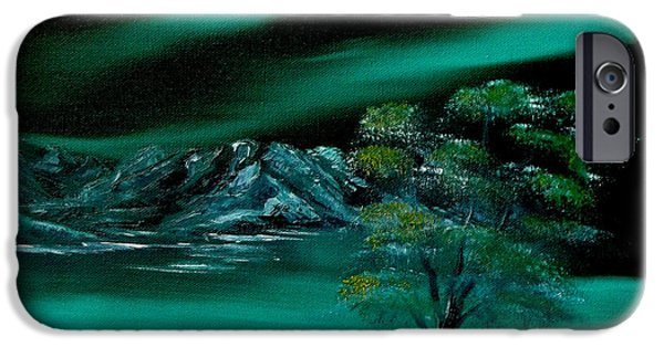 Bob Ross Paintings iPhone Cases - Aurora Borealis in Oils. iPhone Case by Cynthia Adams