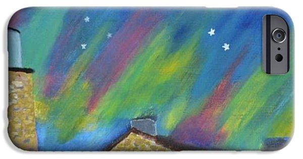 Chicago Paintings iPhone Cases - Aurora Borealis on Beaver Island iPhone Case by Carol Barrett