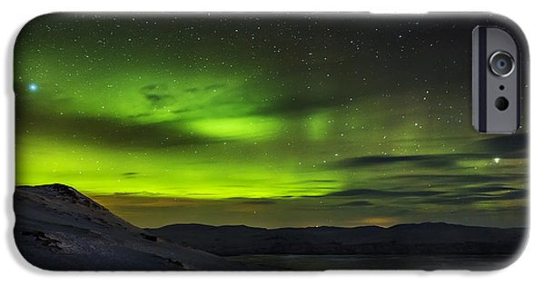 Wintertime iPhone Cases - Aurora Borealis Or Northern Lights Seen iPhone Case by Panoramic Images