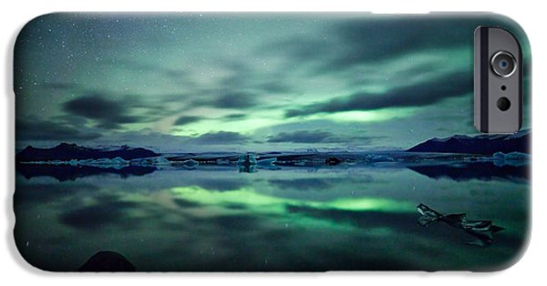 Adrenaline iPhone Cases - Aurora borealis over lake iPhone Case by Matteo Colombo