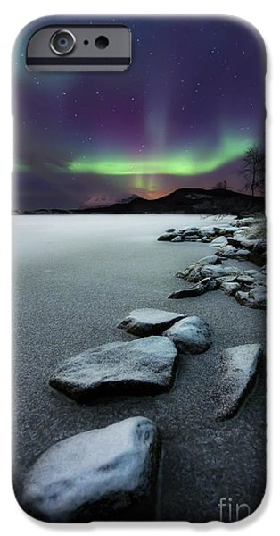Photography Photographs iPhone Cases - Aurora Borealis Over Sandvannet Lake iPhone Case by Arild Heitmann