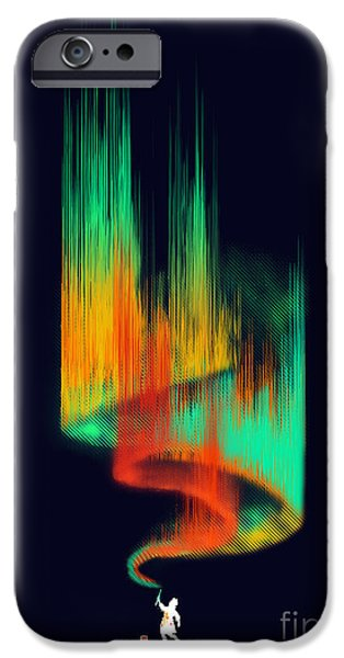Painter Digital Art iPhone Cases - Aurora Borealis painter iPhone Case by Budi Satria Kwan