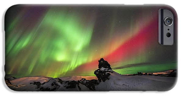 Lights At Night Pyrography iPhone Cases - Aurora dance iPhone Case by Viktoras Kaubrys