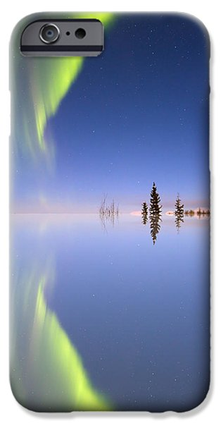 Aurora iPhone Cases - Aurora Mirrored iPhone Case by Ed Boudreau