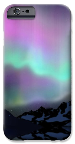 Above iPhone Cases - Aurora Over Lake iPhone Case by Atiketta Sangasaeng
