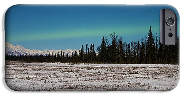 Snow iPhone Cases - Aurora Over McKinley iPhone Case by Ed Boudreau
