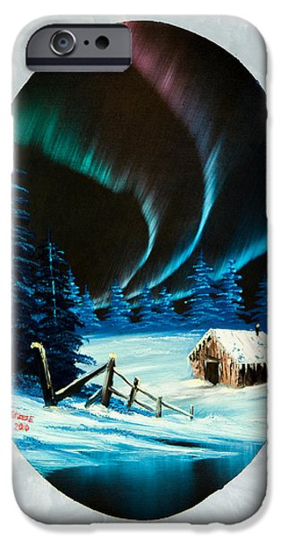 Bob Ross Paintings iPhone Cases - Auroras Beauty iPhone Case by C Steele